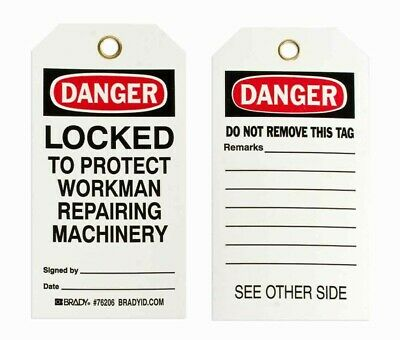 "25 Pack, Brady ""Danger Locked to Protect Workman..."" Lockout Tags, Polyester"