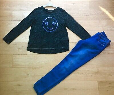 NEXT *16y GIRLS SEQUIN TOP & JEANS OUTFIT AGE 16 YEARS