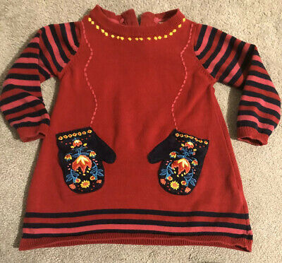 CUTE! M&S Baby Girls 12-18 Months Long Sleeved Red Knitted Dress Scandi Gloves