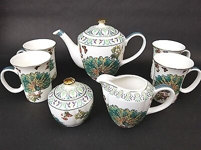 7 Piece Set Graces Grace's Teaware Porcelain Peacock Tea Serving Set