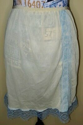 Vintage Yellow And Baby Blue Lace Trimmed Short Slip Unbranded Small