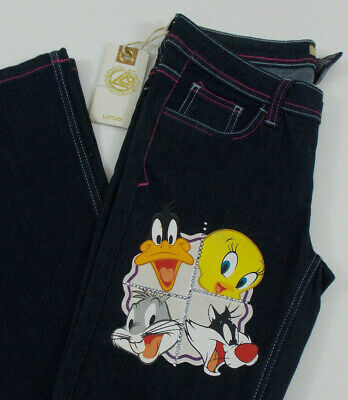 New! LOT 29 LOONEY TUNES Girls Jeans Size 5 BUGS BUNNY Tweety DAFFY Sylvester