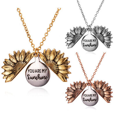 Fashion Necklace You Are My Sunshine Open Locket Sunflower Pendant Jewelry Gifts