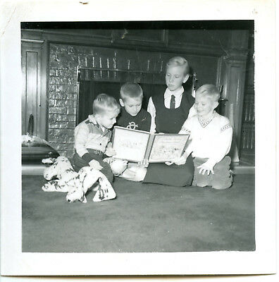 Four Brothers Reading CHRISTMAS Vintage PHOTO A Child's Book of Christmas Carols