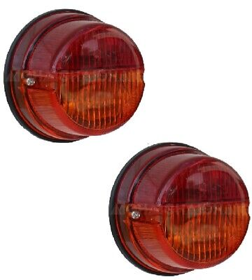 """Trailer Lights 12V Round 3"""" 75mm Red Tail Light Amber Indicator with Bulbs PAIR"""