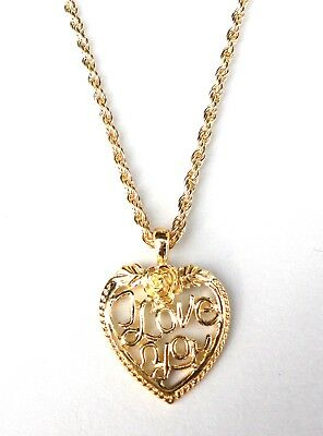 "Heart Necklace Pendant I LOVE YOU 20"" Gold Plated Rope Chain Valentines Day Gift"