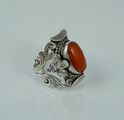 Sterling Chinese Export Nepal Tibet Coral Antique Vintage Saddle Ring Floral Old