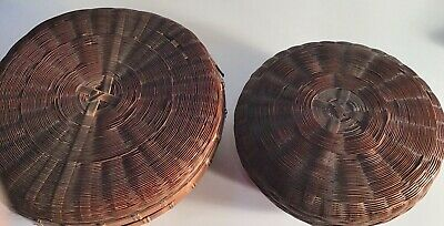 2 Vintage Stacking Wicker Baskets with Lids Woven Bamboo Nesting round markings