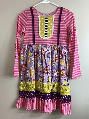 NWT Jelly the Pug  Girls Dress Size 12 Floral / Striped