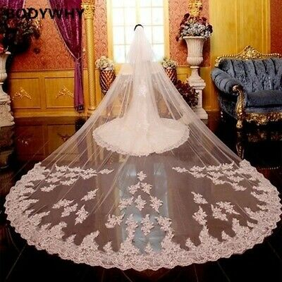 5 Meters Full Edge Lace Bling Sequins Two Layers Long Wedding Veil Comb White
