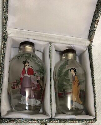 A Pair Of Beautiful Reverse Painted Snuff Bottles Crystal Glass /W. Original Box
