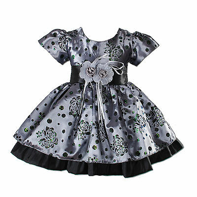 Baby Girls Party Dress Hot Pink Grey 3 6 9 12 18 24 Months