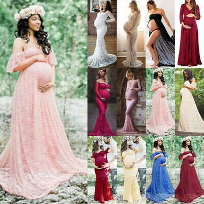 Pregnancy Maternity Women Lace Photography Props Stretch Maxi Gown Party Dress