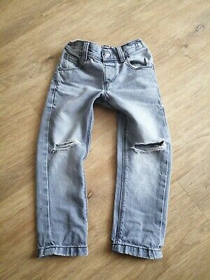 2019 Next Boys Age 2- 3 Grey Ripped Banana Leg Jeans Fab!!