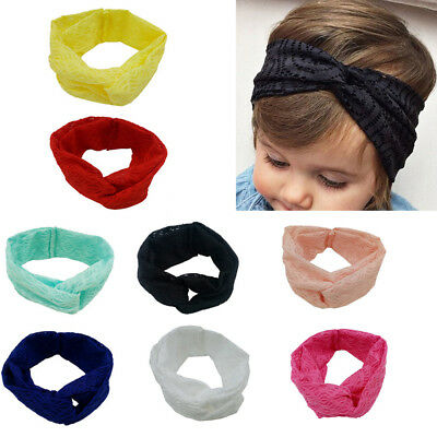 SN_ FM_ EE_ EG_ Children Kids Solid Color Lace Cross Baby Headband Cute Hair A