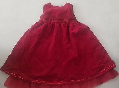 Girls Red Velvet Dress/satin Bow/sequins/lined,3-4y,party/Christmas time