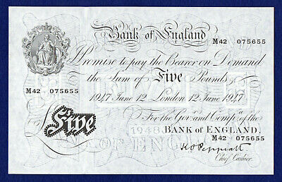 Bank of England 1947 White Five Pounds, £5 Note, Excellent Grade (Ref. b0791)