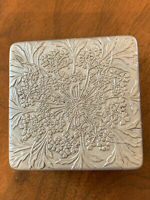 Antique Lalique Aluminum face powder box by Lov Lor Cheramy made in france