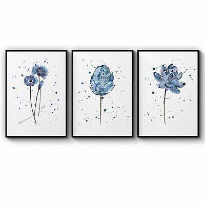 Set of 3 Minimal Scandi Flower Home Decor Wall Art Poster Print - A3 A2 A1 A0 B1