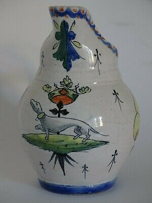 Vintage Pitcher French Faience Alcide Chaumeil 19 Th Century