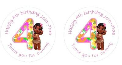 Moana Baby Personalised 4cm Round Stickers 24 Per Sheet