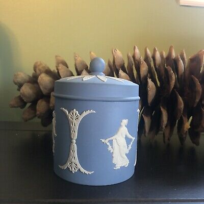 Antique French Blue Decorative Ceramic Jar