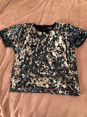 Girls Clothing Primark Party Sparkly Sequin Top 9-10yrs VGC