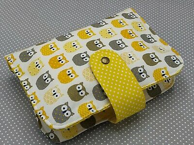 Handmade Baby Diaper Nappy Wallet Bag Pouch Wipes Holder Organizer Yellow Owls