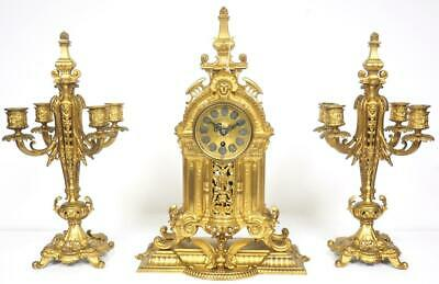 Superb Antique French Mantel Clock Bronze Ormolu Candelabra Mantle Clock C1880