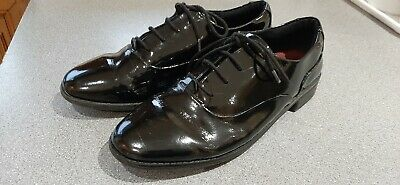 Girls Teens Black Clarks School Shoes Size 6.5 G Lace Up Shiny Patent