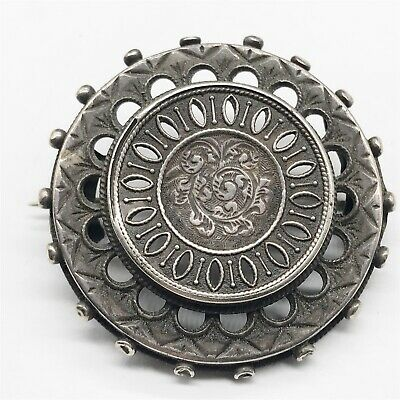 Antique Victorian Solid Sterling Silver Round Mourning Ladies Pin Brooch