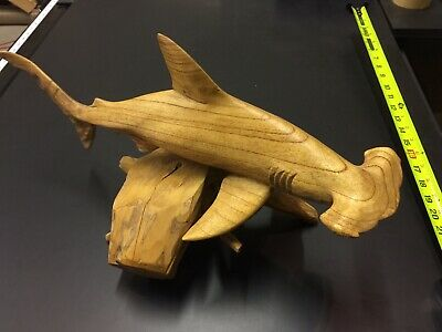 wood carving Hammer Head Shark Teak Wood
