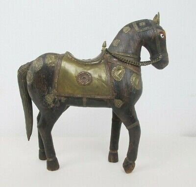 Antique/Vintage Hand Carved Wooden Horse hammered brass inlaid decoration
