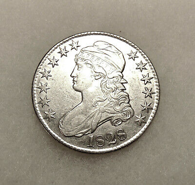 1828 Capped Bust Half Dollar - O.104 R.3 - Sharp Looking AU Coin - FREE SHIPPING