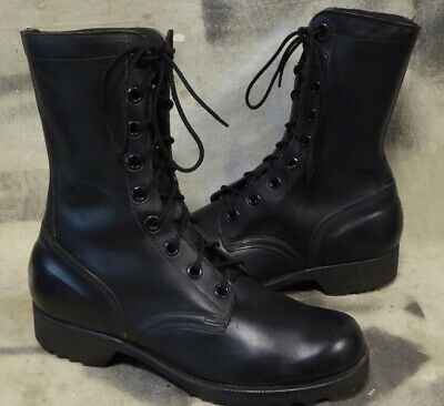 vtg Vietnam Era 1970 Black LEATHER military COMBAT Field BOOTS US size 8 W NICE!