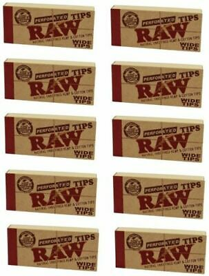 RAW PERFORATED NATURAL UNREFINED WIDE TIPS SMOKING CIGARETTE ROLLING PAPER 10pks