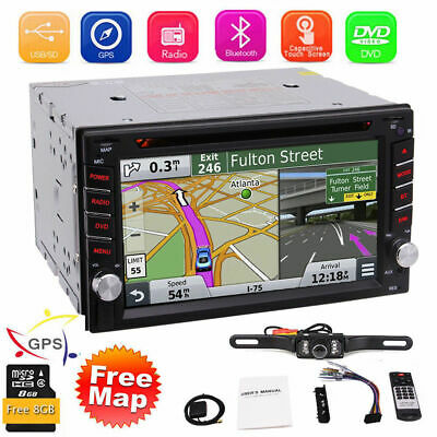 """GPS Navigation With Map Bluetooth Radio Double Din 6.2"""" Car Stereo DVD Player CD"""