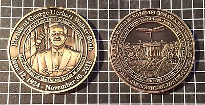 """President George H. W. Bush Funeral 2"""" Challenge Coin - FBI USSS HHS NDMS DMAT"""