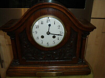 Antique Hand Carved Wooden French Mantel Clock Japy Freres