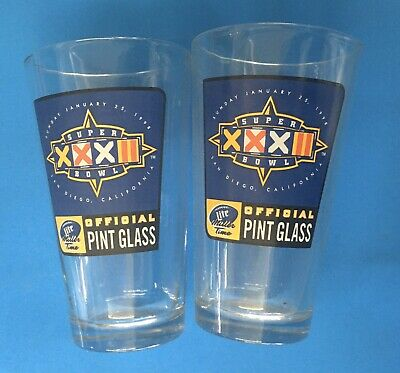 super bowl XXXII miller lite pint beer glasses (set Of 2)