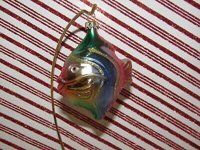 Vintage Glass Christmas Tree Ornament Angel TROPICAL FISH ~ RAINBOW Germany