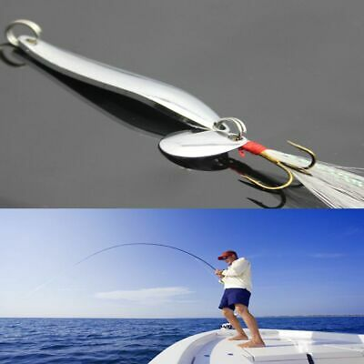 Paillette New Metal Crank Bait Feather Treble Hook Fishing Lures Spoon Spinner