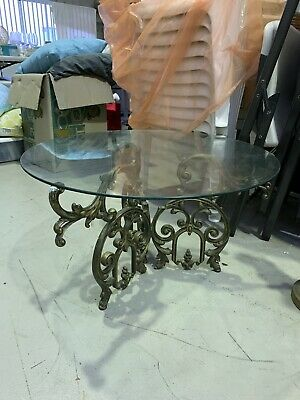 Vintage French Marble Top Lamp Table Cast Iron, Circular Coffee / Side Table