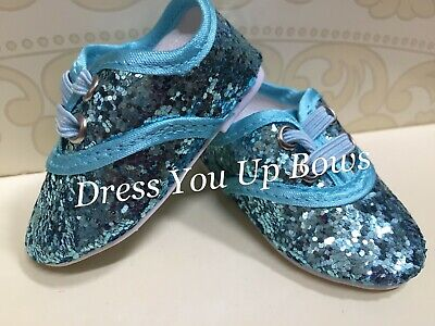 """Green Glitter Dress Shoes Fits 18/"""" American Girl Doll Clothes Shoes"""