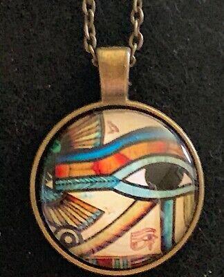 EYE of HORUS Necklace NEW Domed Cabochon w/ chain Bronze tone Ancient Egypt