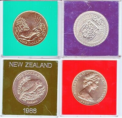 Four New Zealand $1 Coins Lot 2 In Plastic Cases