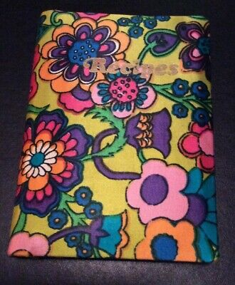 Vintage 60's 70's Small Recipes Floral Mod Notebook