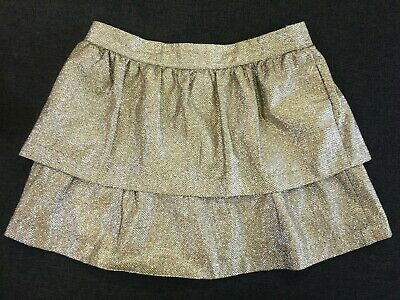 WITCHERY girls 10 12 GOLD SPARKLE layer MINI SKIRT visible zip high waist party