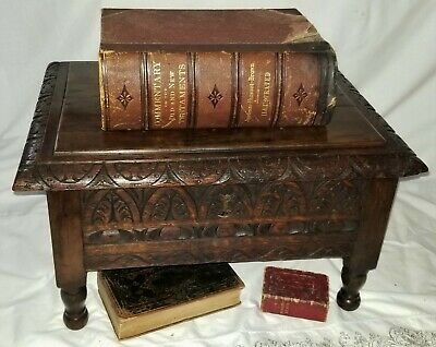 "Jacobean style Bible Box, solid oak, relief carved, 19th C, 18.5""w"