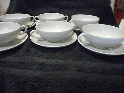 Wedgwood Etruria & Barlaston Windsor Grey '55 6 Soup Coup & Saucers Discontinued